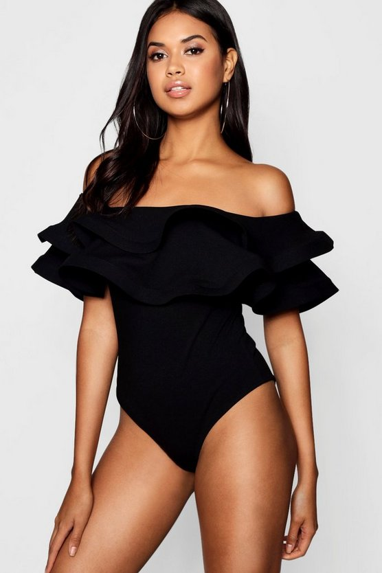 Womens Black Tall Double Ruffle Bodysuit