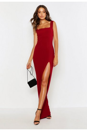 Berry Tall Square Neck Side Split Maxi Dress