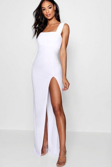 White Tall Square Neck Side Split Maxi Dress