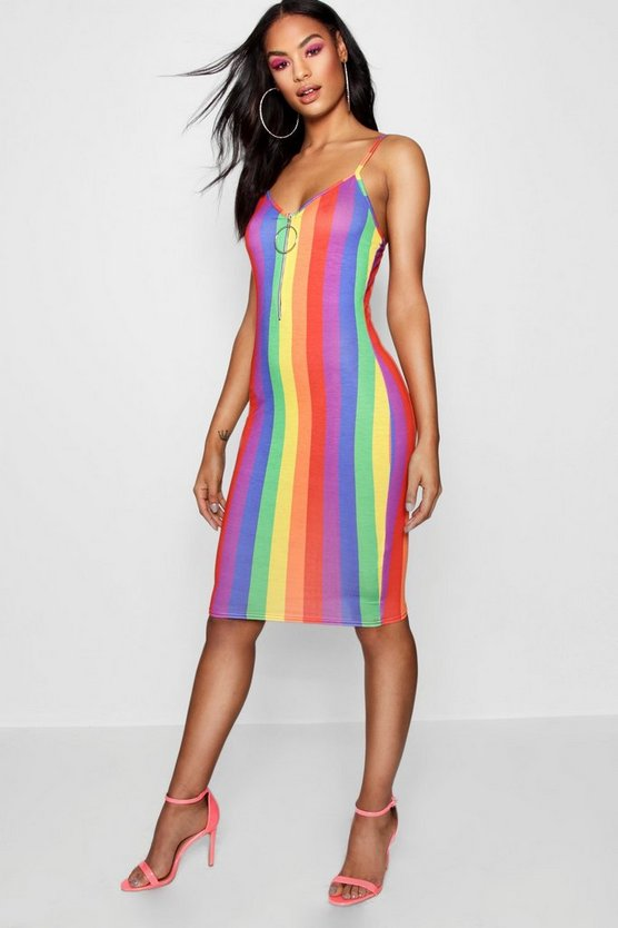 Womens Red Tall Rainbow Stripe O Ring Dress