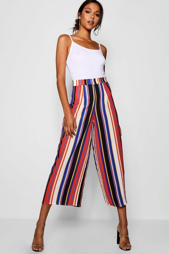 Womens Blue Tall Stripe Culottes