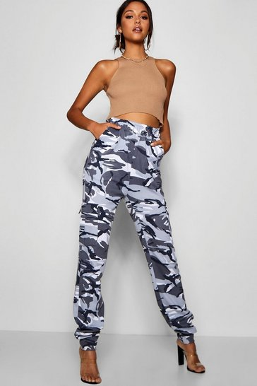 Womens Black Tall Camo Loop Back Cargo Trousers