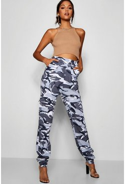 Womens Black Tall Camo Loop Back Cargo Pants