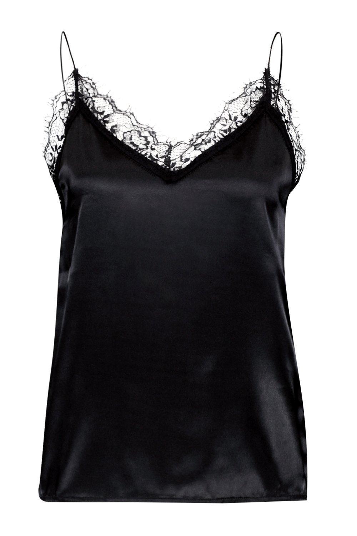 Camisola negro con adorno de Tall encaje de Satén 8UzOw81n