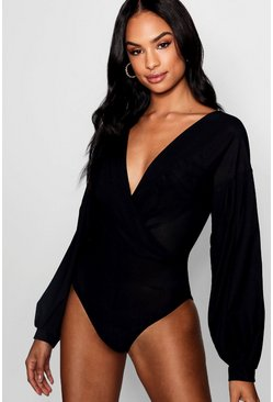 Womens Black Tall Melissa Wrap Front Bodysuit