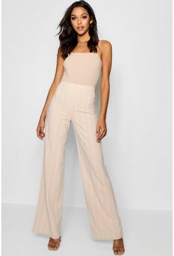 Womens Nude Tall Pinstripe Wide Leg Trousers