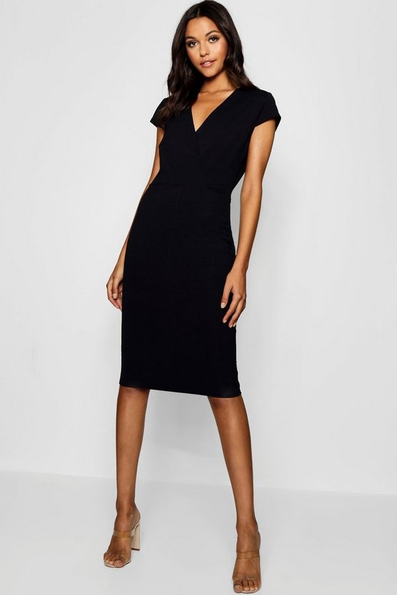 Womens Tall Wrap Front Bodycon Midi Dress