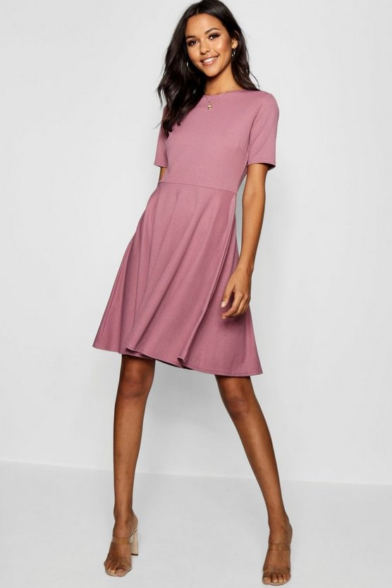 Womens Mauve Tall Short Sleeve Skater Dress