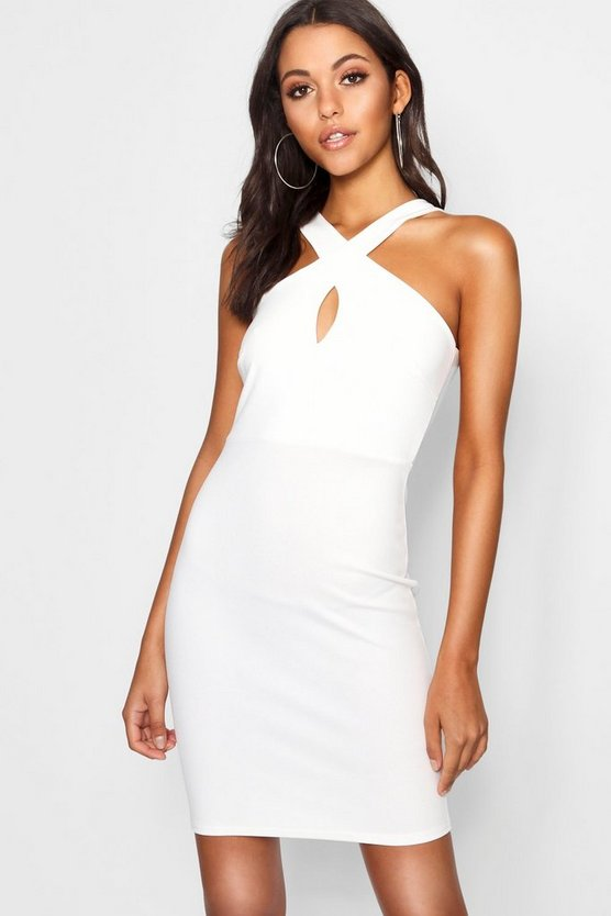 Womens Ivory Tall Twist Front Bandeau Mini Dress