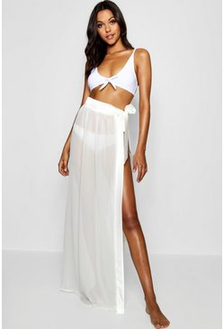 Womens White Tall Satin Tie Beach Sarong