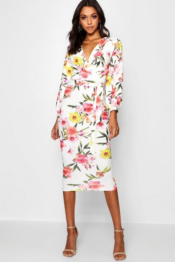 Tall Floral Print Midi Bodycon Dress