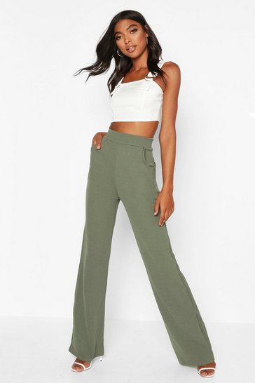 Womens Sage Tall  High Waisted Leg Trousers