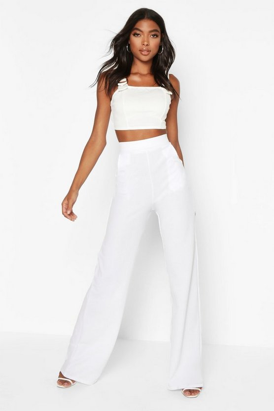 White Tall High Waisted Leg Pants