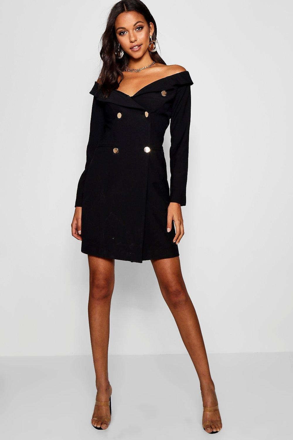 1a6366b16116 Tall Off The Shoulder Military Blazer Dress. Hover to zoom