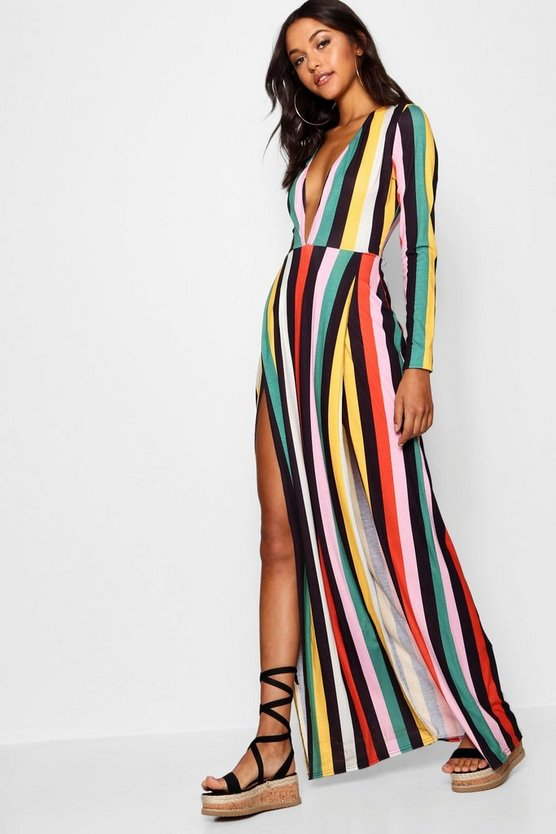 Tall Plunge Side Split Stripe Maxi Dress