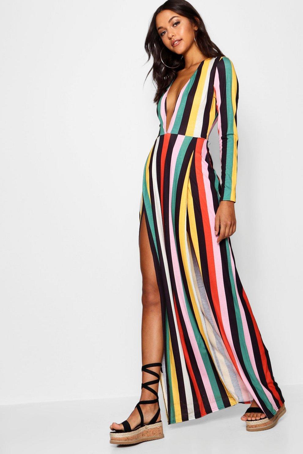 05784b4c777 Womens Pink Tall Plunge Side Split Stripe Maxi Dress