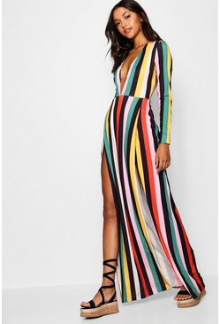 Womens Pink Tall Plunge Side Split Stripe Maxi Dress