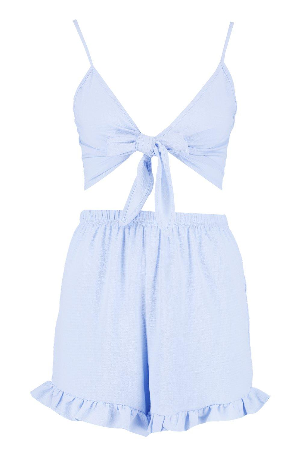 Co ord Tall Front Tie Top amp; Shorts blue cornflower xwwXTPq7