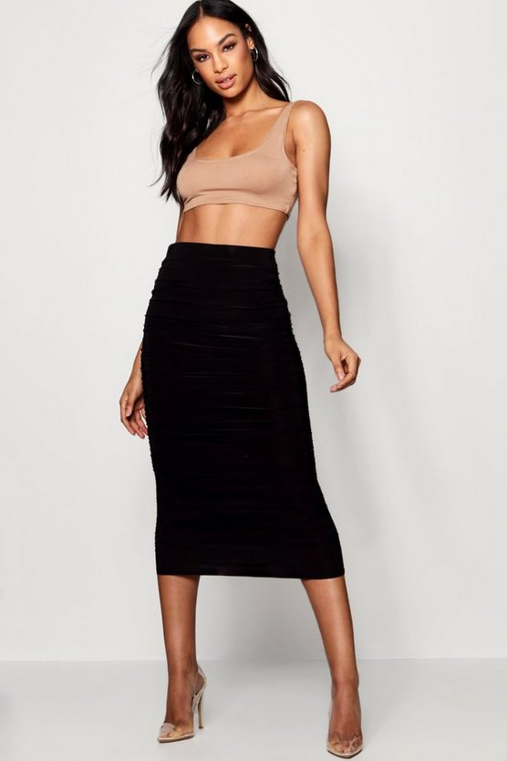 Black Tall Ruched Slinky Midi Skirt