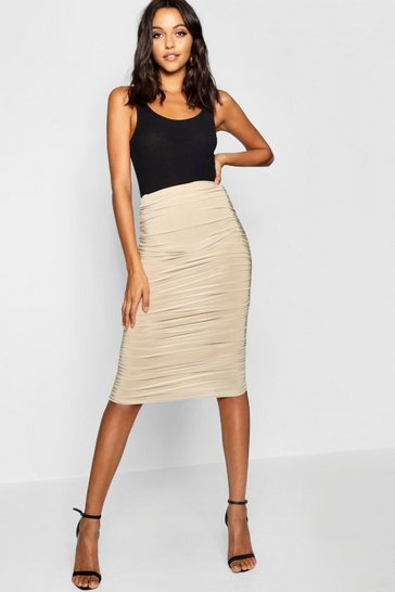 Womens Caramel Tall Ruched Slinky Midi Skirt