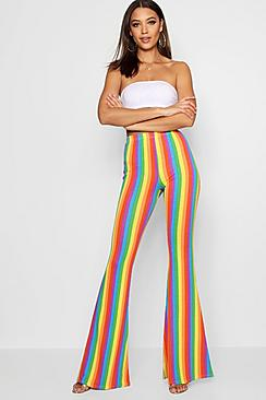 60s – 70s Pants, Jeans, Hippie, Bell Bottoms, Jumpsuits Tall Rainbow Stripe Flares $30.00 AT vintagedancer.com