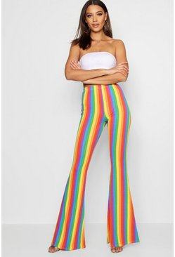 Womens Red Tall Rainbow Stripe Flares