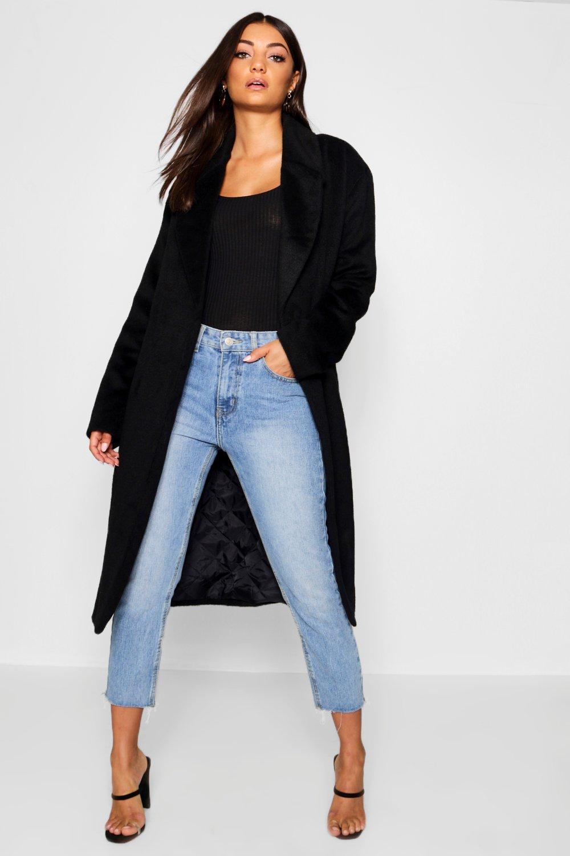 Abrigo negro con grande extra Tall efecto cinturón con rxH80qr
