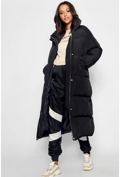 Womens Black Tall Longline Padded Coat