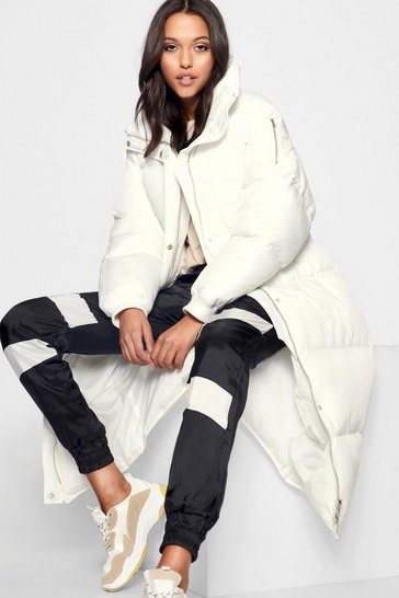 Womens White Tall Longline Padded Coat