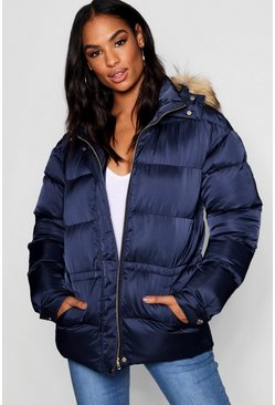 Womens Ink Tall Padded Jacket With Faux Fur Hood