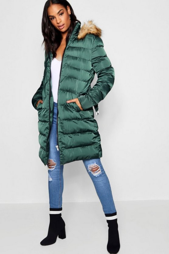 Tall Faux Fur Trim Hooded Padded Coat