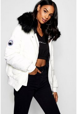 Womens White Tall Contrast Faux Fur Padded Crop Jacket