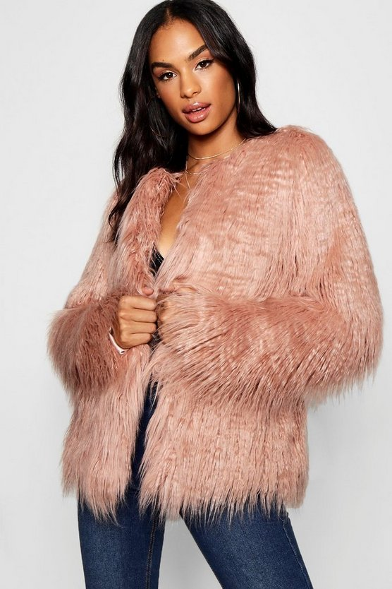 Tall Mongolian Faux Fur Coat