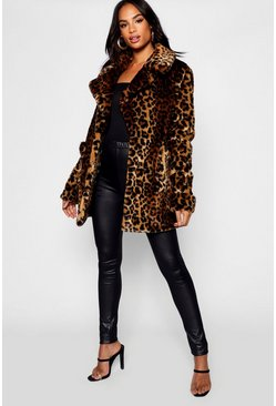 Tall Faux Fur Leopard Print Coat