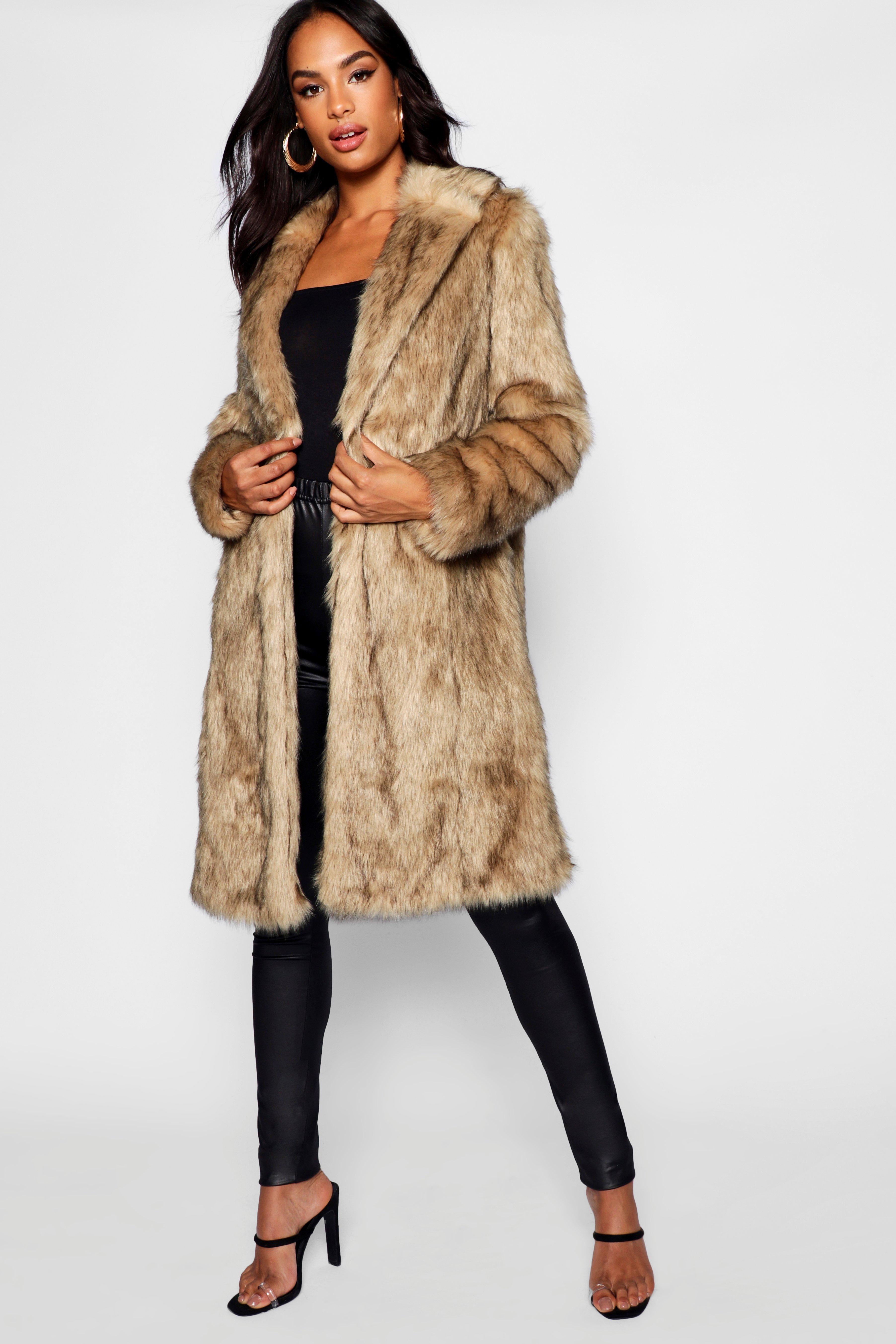 70s Jackets, Furs, Vests, Ponchos Womens Tall Faux Fur Coat - Beige - 14 $110.00 AT vintagedancer.com