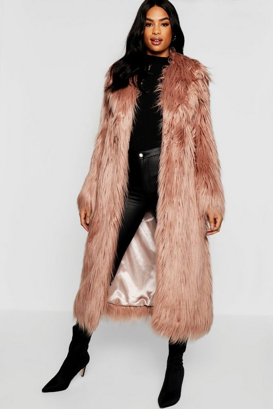 Womens Dusky pink Tall Boutique Maxi Faux Fur Coat