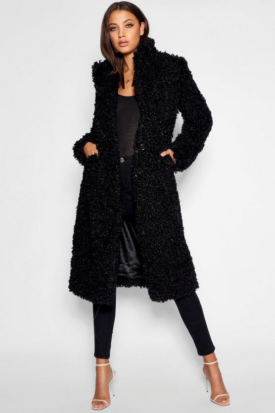 Tall Shaggy Faux Fur Coat