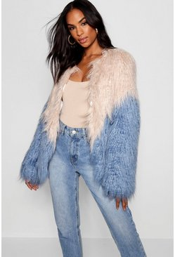 Womens Blue Tall Two Tone Shaggy Faux Fur Jacket