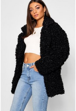 Womens Black Tall Shaggy Faux Fur Jacket