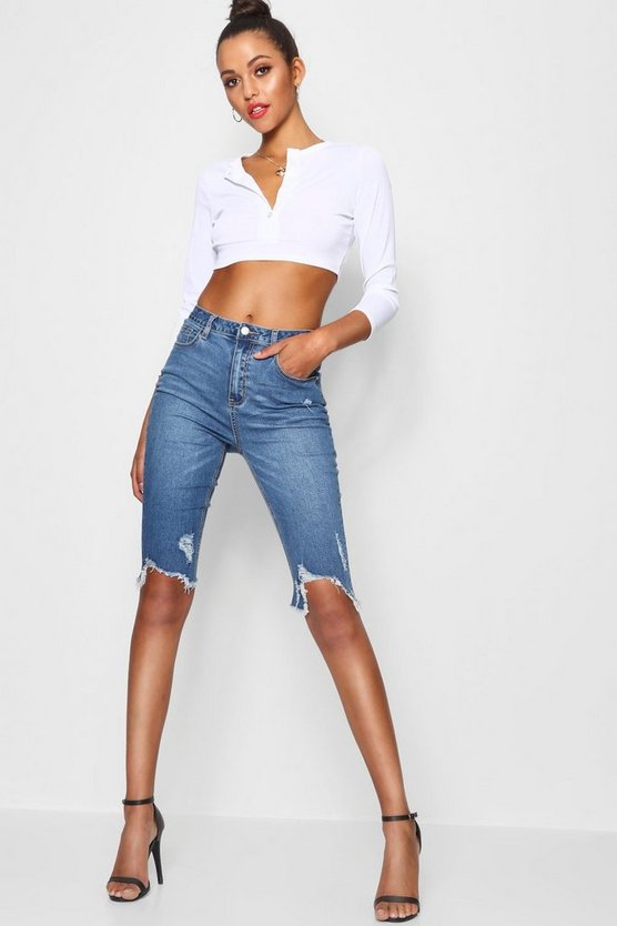 Tall High Waist Chewed Hem Bermuda Shorts