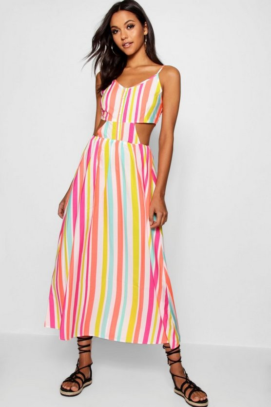 Tall Candy Stripe Tie Back Cami Dress