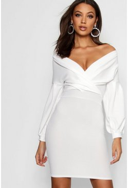 Womens Ivory Tall Off The Shoulder Mini Dress