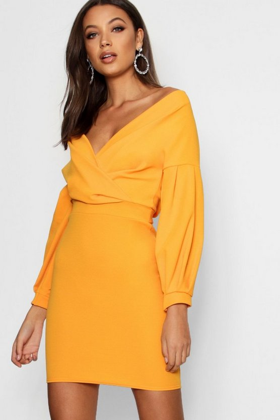 Womens Tangerine Tall  Off The Shoulder Mini Dress