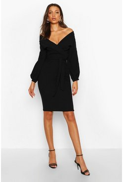 Womens Black Tall  Off The Shoulder Wrap Midi Bodycon Dress