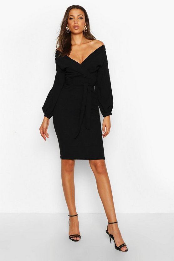 Tall Off The Shoulder Wrap Midi Bodycon Dress