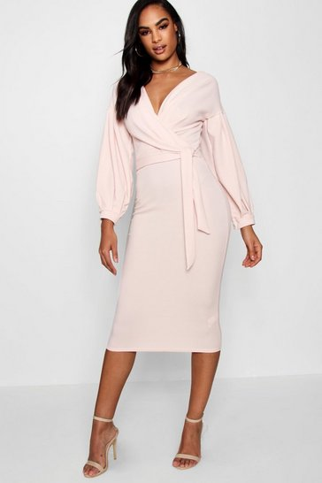 Blush Tall  Off The Shoulder Wrap Midi Bodycon Dress