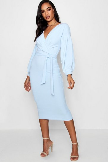 Womens Sky Tall Off The Shoulder Wrap Midi Bodycon Dress
