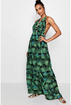 Leaf green Tall Plunge Front Palm Print Maxi Dress