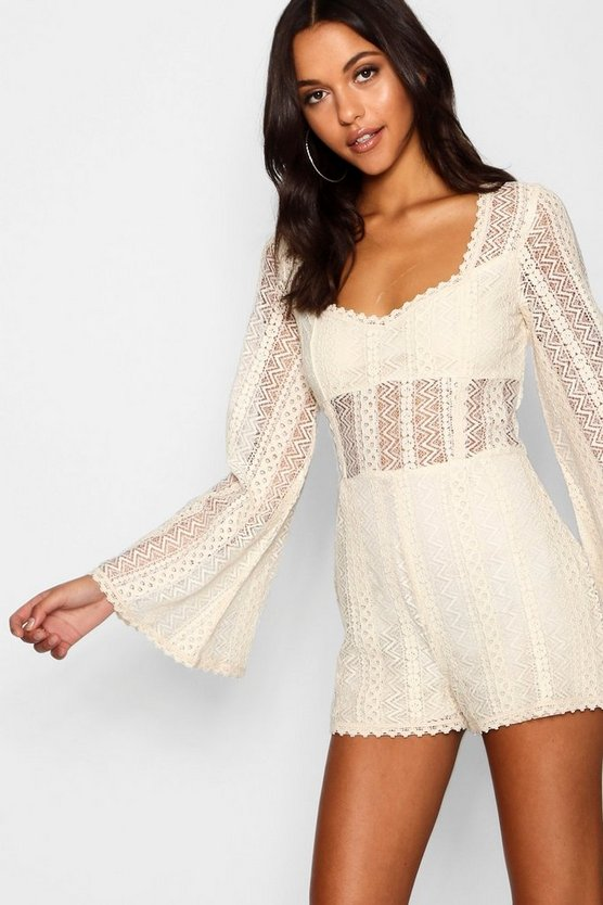 Womens Cream Tall Flare Sleeve Crochet Playsuit