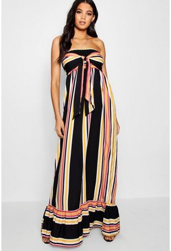 Desert sand Tall  Knot Front Stripe Maxi Dress